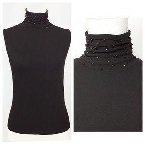 Tahari Beaded Turtleneck Knit Sleeveless Top